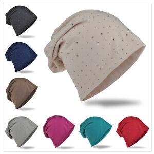 Beanie Mütze Unifarbe mit Strass Nieten Herren Damen Mützen Jersey Slouch Trend