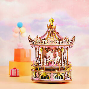 346Pcs 3D DIY Wooden Puzzles Mechanical Music Box Carousel Christmas Gift Toys