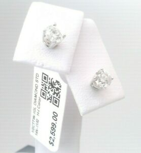 $2600 CERTFIED 1/2CTTW CT REAL Diamond Stud Earrings 14k SOLID WHITE Gold NO RES