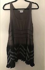NEW Intimately FREE PEOPLE VOILE AND LACE TRAPEZE SLIP DRESS Small Brown/Black