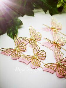 Butterflies 3D Pink Gold Glitter cupcake party decoration cake sticks picks x 6
