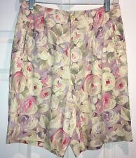 Womens LIZGOLF Liz Claiborne Floral GOLF SHORTS BERMUDA SZ 8 Pink Purple LINEN