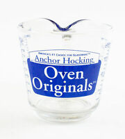 "Anchor Hocking Blue 498 Oven Originals Glass - 2 Cup Measuring Cup ""D"" Handle"