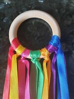 Baby shower gift Boy Girl Handmade Rainbow Wooden Sensory Ribbon Ring Baby toy