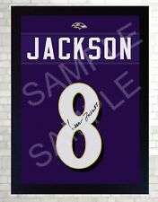 Lamar Jacks Baltimore Ravens NFL signed Jersey t-shirt Canvas 100% cotton Framed
