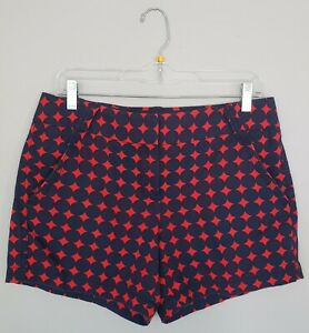J Crew City Fit Womens Shorts 6 Cotton Navy Blue Red Polka Dot Pockets Zip Fly