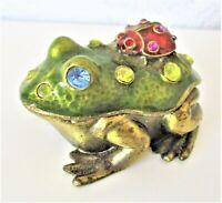 Frog Trinket Box Brass ? Ladybug on Back Blue Eyes Top comes off Magnets