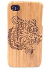 iPhone 4/4s Bamboo Wood Case ( Tiger  Engraving ) 100% Genuine Wood Cover✔️