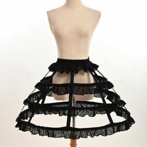 Girls Crinoline Cage Bustle Skirt Pannier Petticoat Underskirt 3 Hoop Lolita