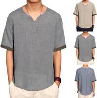 Retro Men Summer Cotton Linen Short Sleeve Shirt V-Neck Chinese Style T-shirt