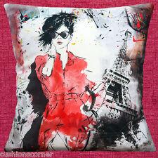 "NEW PARIS EIFFEL TOWER RETRO FASHION LADY SUNGLASSES 16"" Pillow Cushion Cover"