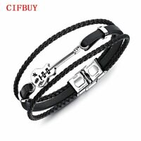 Guitar Bass Bracelet Men Multilayer Leather Stainless Steel Bangle Braided Rope