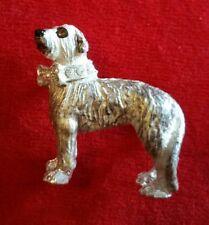 Scottish Deerhound Dog Brooch Pin Figurine Genuine Austrian Crystal New on Card