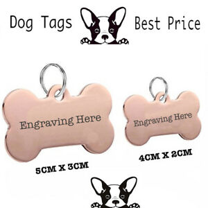 Engraved Pet Tags Chrome Rose Gold Plated DOG  ID Disc Free P&P Deep Engraving
