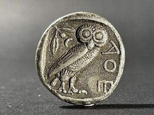 VF ANCIENT GREEK COIN ATTICA ATHENS OWL SILVER TETRADRACHM CA 450 BC 26mm 17.3gr