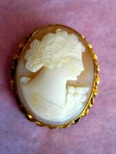 Antique Shell Cameo Victorian or Early Edwardian 12K GF Hand Carved Brooch