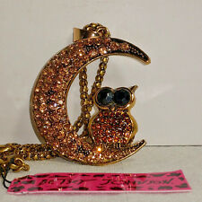 Betsey Johnson Owl sitting in Crescent Moon Pendant with Necklace - NEW