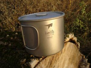 Keith 900ml Titan Topf mit Deckel ~ Keith Ti3209 ~ Titanium Becher, Tasse 0,9l