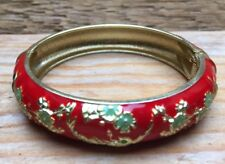 Vintage Enamel Red & Green  Flower Bangle/Cloisonné? Bracelet/Hinged/Retro Look
