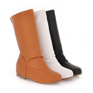 Women Mid Calf Boots Slouch Riding Flat Chelsea Round Toe Pull On Booties Shoes