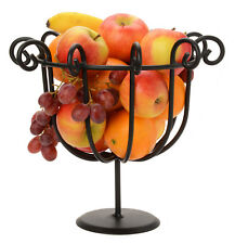 SCROLLED FRUIT BOWL Black Wrought Iron Decor Basket Stand Amish Handmade in USA