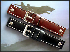 22mm Black Brown Rivet Open end leather Pilot strap watch band IW SUISSE 20 24mm