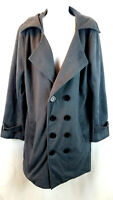 OWIND Women's Button Front Gray Double Breasted Pea-Coat Pockets Size 2XL NWT