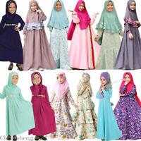 Arab Kids Girl Long Dress Muslim Hijab Islam Abaya Kaftan+Maxi Dress Prayer Set
