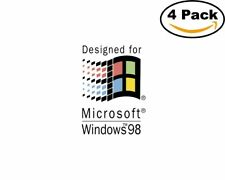 Designed for Microsoft Windows 98 4 Stickers 4X4 inches Sticker Decal