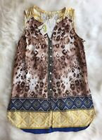Fig & Flower NWT Sleeveless Embroidered Lace Button Hippie Boho Tunic Top Large