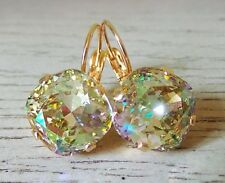 Peach Green Purple Multicolor Gold Dangle Earrings w/ Swarovski® Crystals