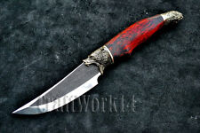 N690 STEEL CUSTOM HANDMADE KNIFE Karelian Birch Stub *HUNTING GRIZZLY BEAR*