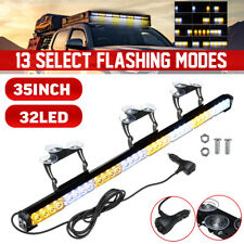 "35"" 32LED Traffic Advisor Emergency Hazard Warning Strobe Light Bar Amber White"