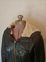 Garage Women's Classic Bomber Black Faux Leather Hooded Jacket Sherpa M Medium