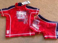 Bnwt Prossimo ROSSO BLU ENGLAND 2 pezzi sun protezione Suit BAULI UPF40 + 9-12 mesi