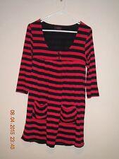 CKM Women's Red & Black Striped 3/4 Sleeve Dress. Size - Medium.