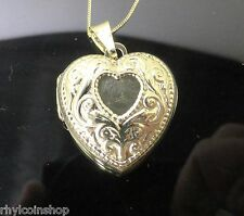 """9CT YELLOW GOLD HEART LOCKET PENDANT AND 16"""" CHAIN IDEAL FOR PHOTOS"""