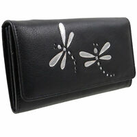 Ladies Black Flap Over Leather Purse/Wallet Mala Azure Collection Dragonfly RFID