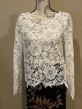 Women's H&M Top With Floral Lace Pattern Ivory White Size M