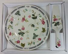 "Andrea By Sadek 10"" Ivory Cake Plate and Server Set - Flowers & Berries Design"