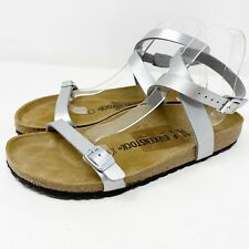 NEW Birkenstock Silver DALOA Leather Ankle Strap Sandals Narrow EU 41 US 10