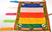 "36"" TIBETAN SILK BUDDHISM WIND HORSE PRAYER FLAG: FIVE COLOR FENGSHUI SUTRA ="