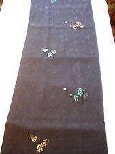 "f-165  vintage silk kimono fabric - textured metallic flower - 14"" x 58"""