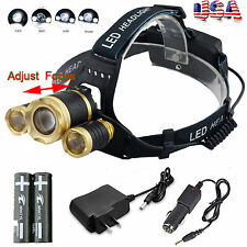 35000LM ZOOM Headlamp CREE XM-L 3x T6 LED Headlight Head Light 18650 Flashlight