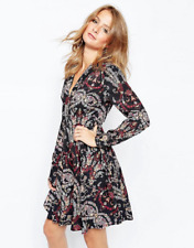 Millie Mackintosh 70s Floral Print Pussy Bow Skater Dress With Tie Neck Size 6