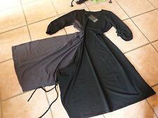 BORIS INDUSTRIES Wickel Kleid 42 44 (2) NEU! schwarz grau asymetrisch LAGENLOOK