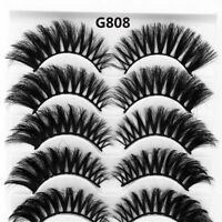 5 Pairs 3D Mink Hair Long False Eyelashes Wispy Cross Lashes Extension Tools