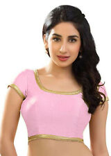 Pink Polyester Silk Blouse Top Choli Dress Bollywood Wedding Saree BellyDance NW