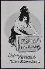Carte publicitaire. FALLOU  Bouquins Affiches Dessins & Estampes Modernes. Dimen