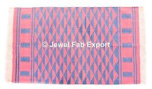 Indian Cotton Handmade Large Area Rug Indian Kilim Mat Floor Pray Mat